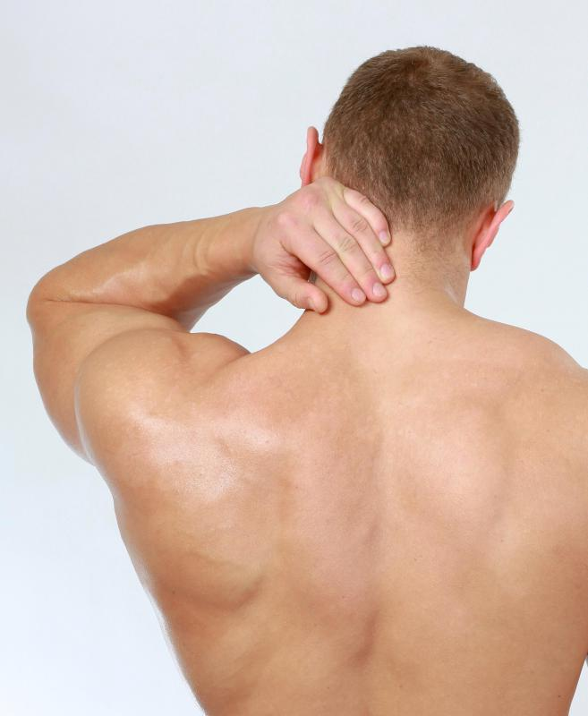 Neck ache can be caused by muscle strain.