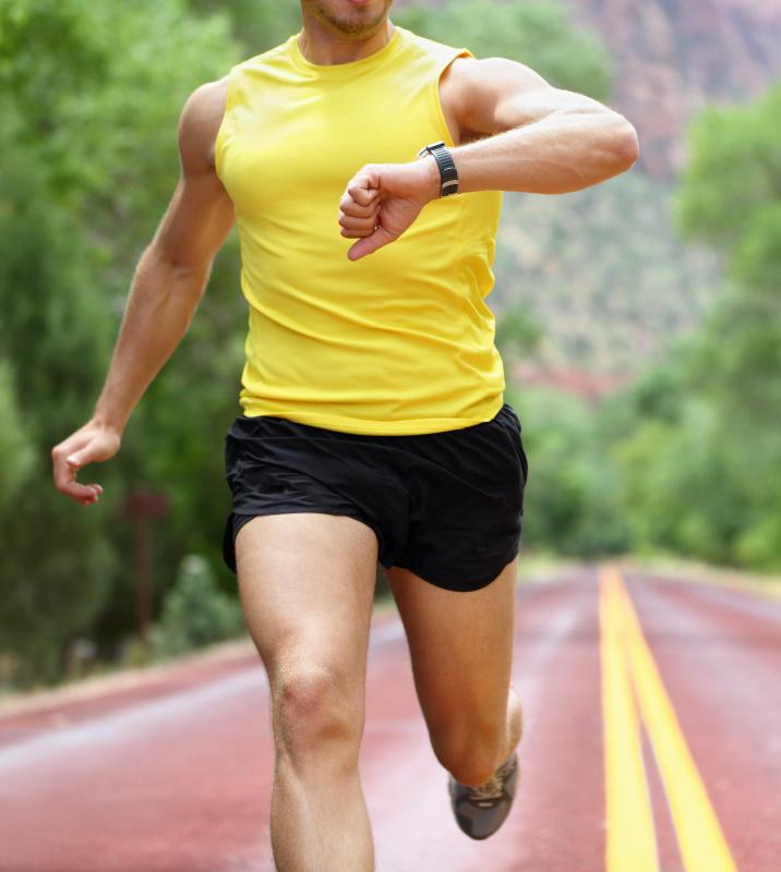 Runners can train for a race by monitoring their time and speed.