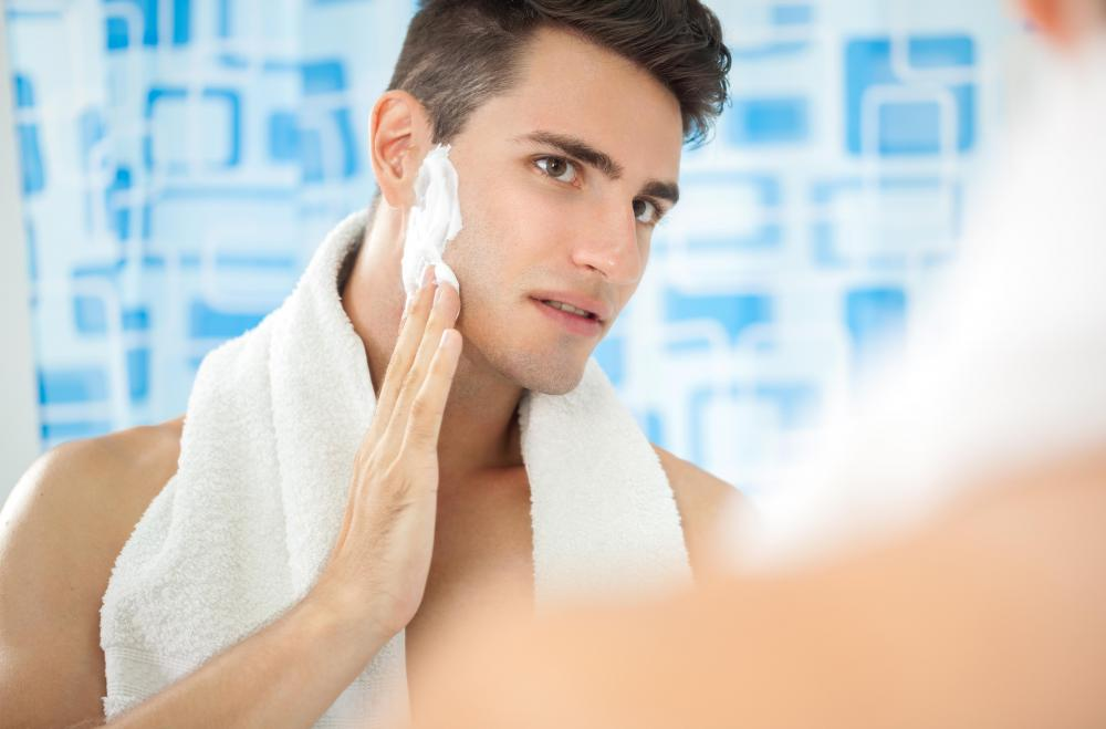 Men typically use shaving cream to shave off their unwanted facial hair.