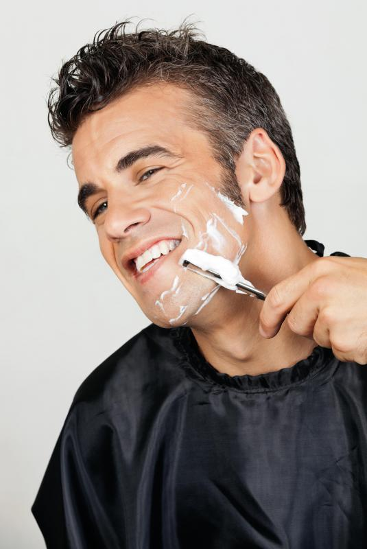 Some men prefer to use a straight razor when shaving their face.