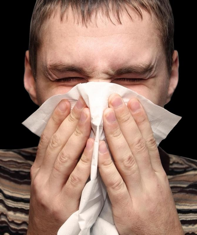 Allergies can cause sneezing and a runny nose.