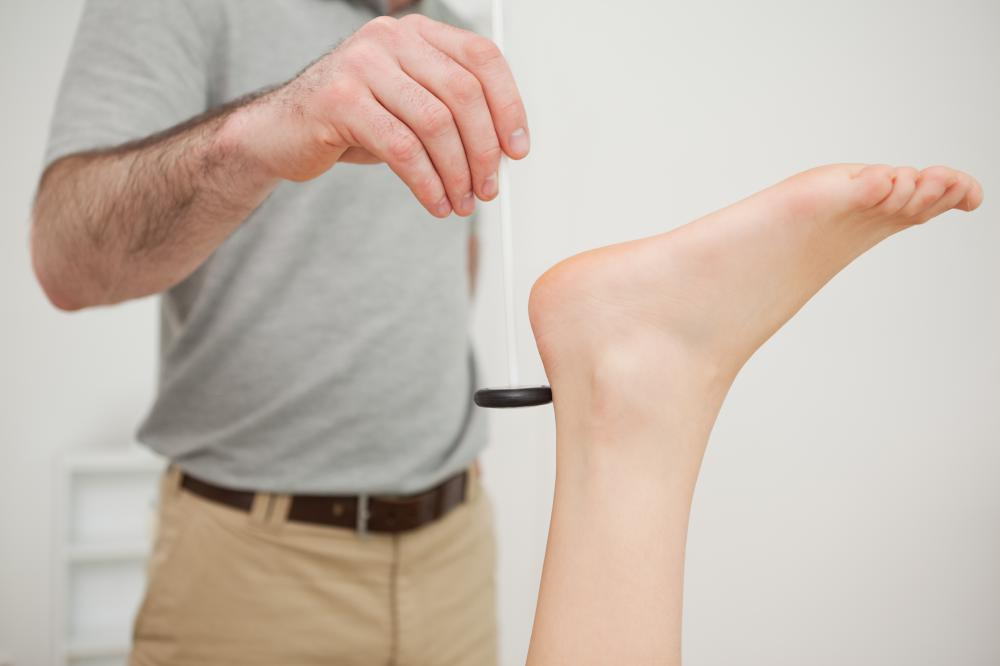 A reflex hammer may be used to test ankle reflex.