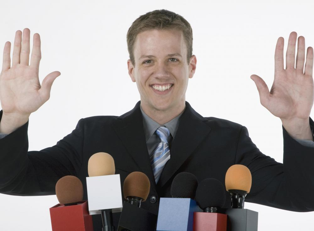 A communications director may call a press conference to field media questions and maintain good public relations.