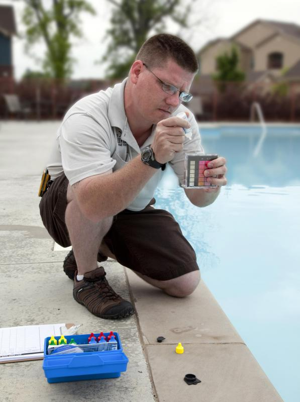 Maintaining a resin above ground pool includes testing the water for chlorine and pH levels, and possibly adding chemicals to the water if necessary.