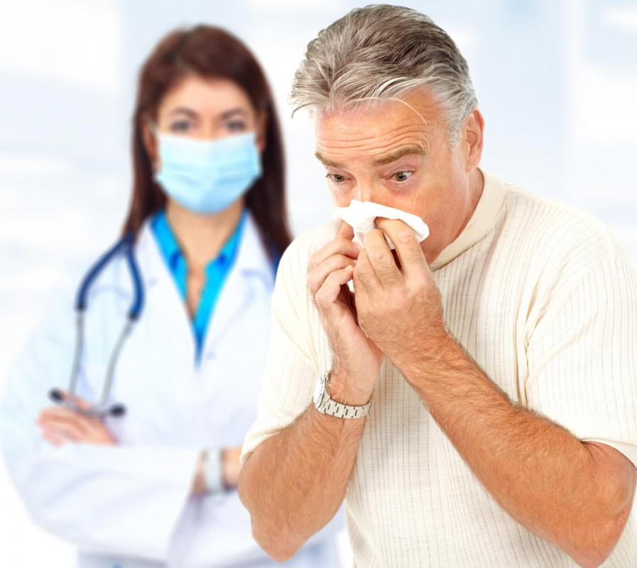 Some doctors may wear face masks to prevent horizontal transmission of airborne diseases.