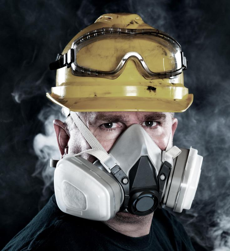 Most miners wear face protection, which may include a respirator.