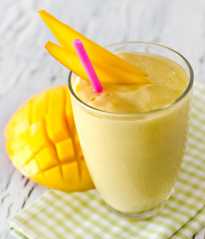 A mango shake is usually made with vanilla ice cream.