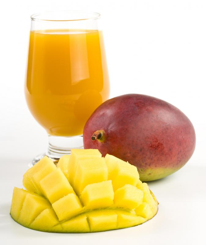 The mango fruit is one of the main ingredients in a mango banana smoothie.