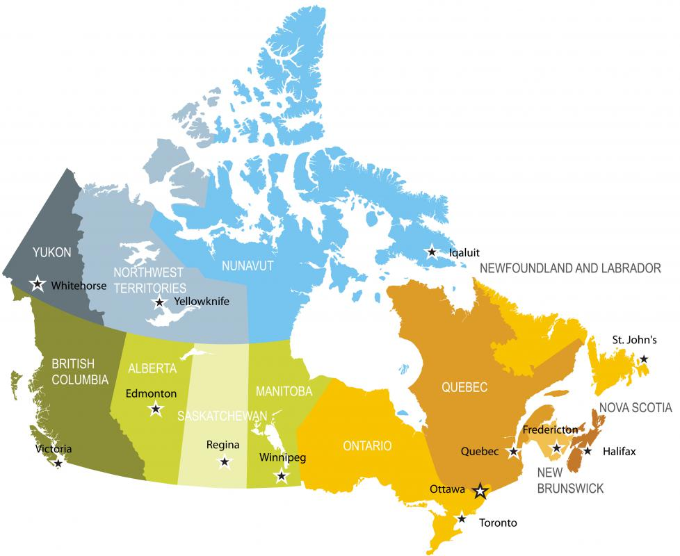 The boundaries of Canada's provinces and territories are shown on a political map.