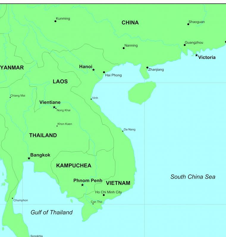Kampuchea lies between Thailand, Laos and Vietnam.