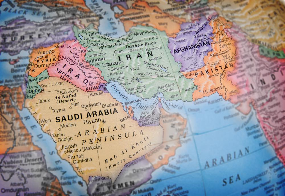 A map of the Middle East, including Saudi Arabia.