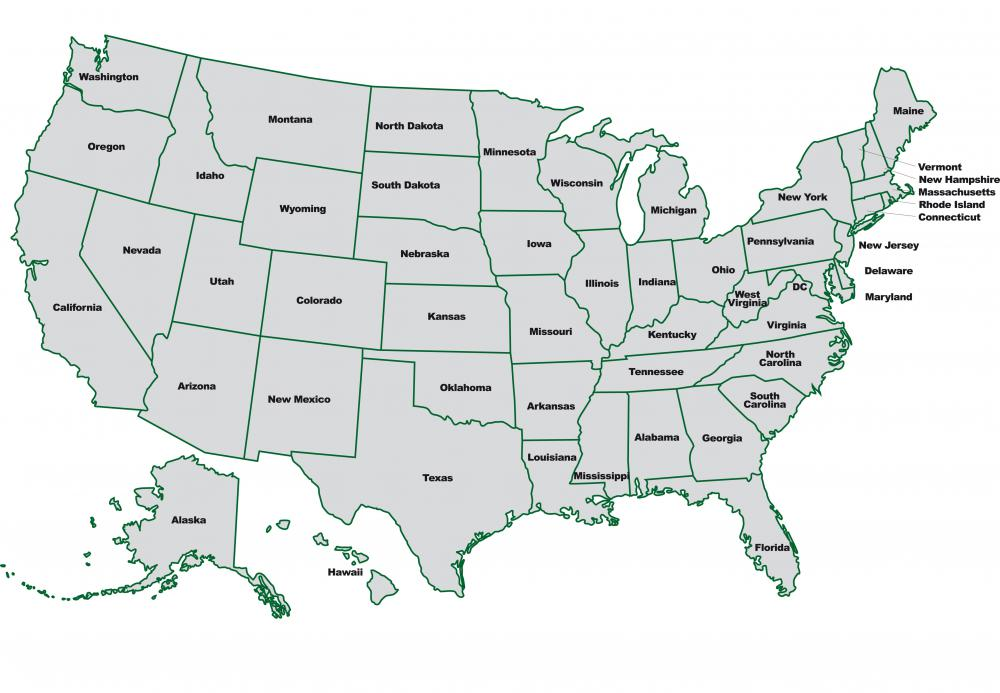 A political map shows lines defining states, as within the United States.