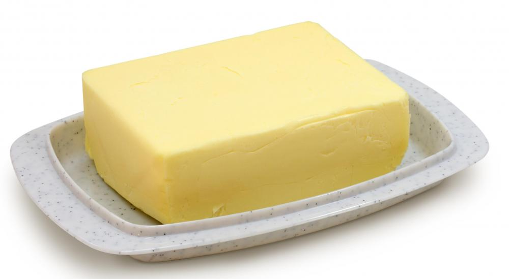 Butter, one of the ingredients in butter cake.