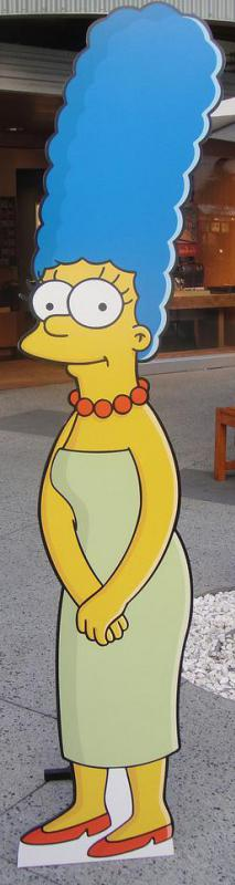The character of Marge Simpson styles her  hair in a bouffant.