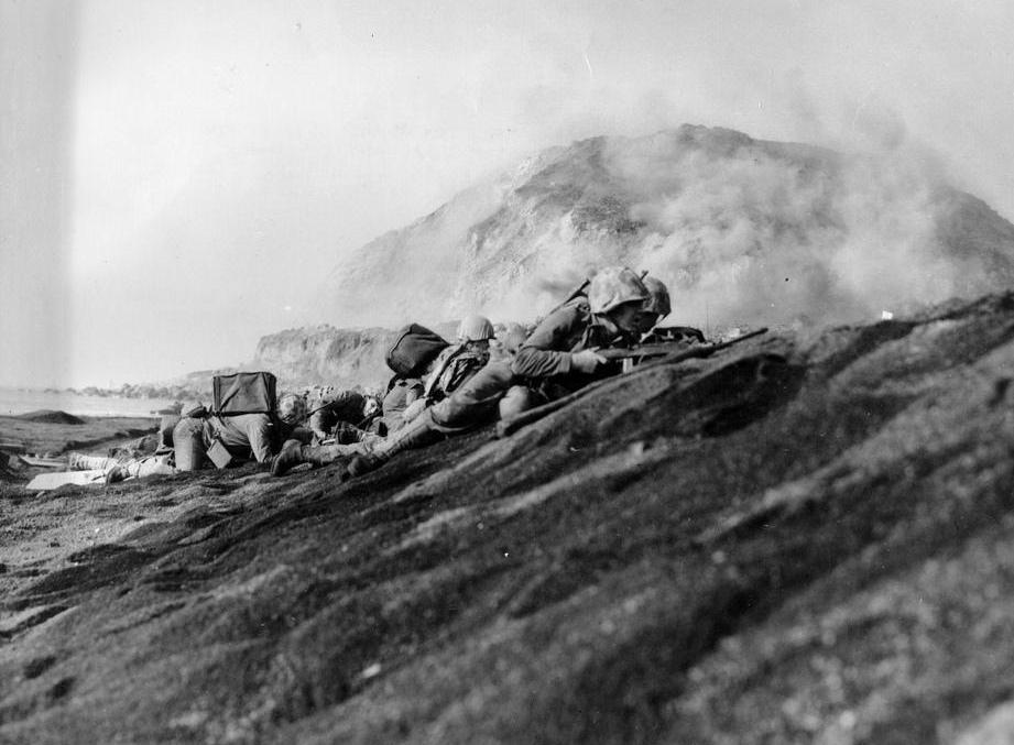 An amphibious assault was carried out in February of 1945 by the U.S. Marine Corps on the island of Iwo Jima.