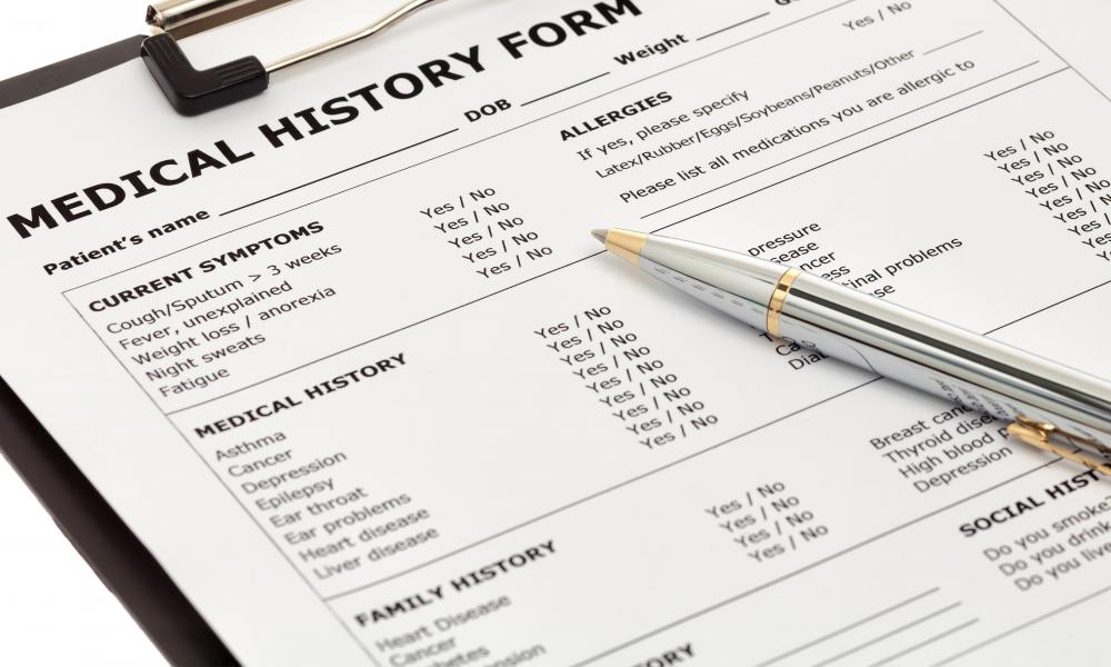 Patients are typically required to complete a medical history form prior to seeing the optomitrist.