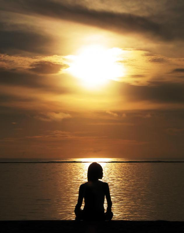 In guided imagery meditation, a person will focus on a particular image or scene, such as a sunset.