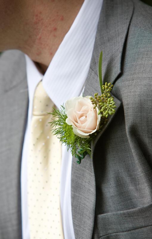 Men sometimes wear a boutonniere with formal attire.