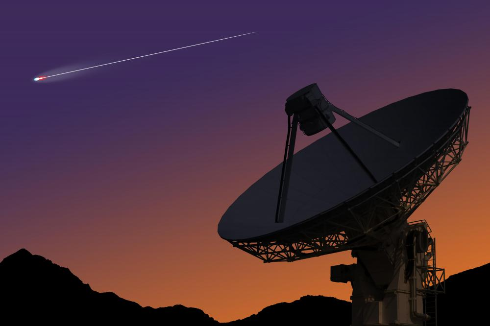 Radio telescopes use radio waves to detect and measure objects in space.