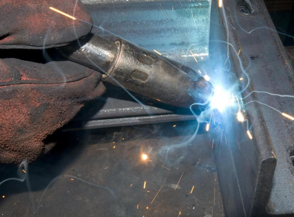 A closeup of gas welding.