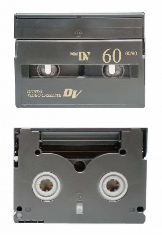 Front and back views of cassettes for a MiniDV camcorder.