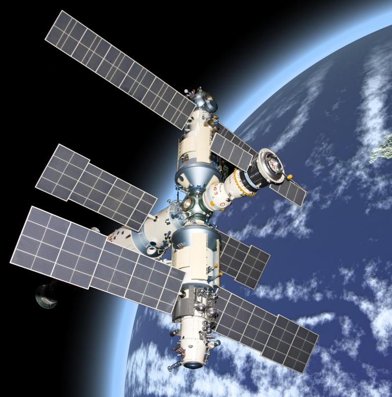 Several modules on the space station Mir were powered with solar panels.