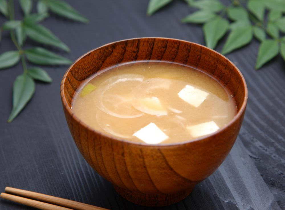 Miso soup is a Japanese soup using tofu.