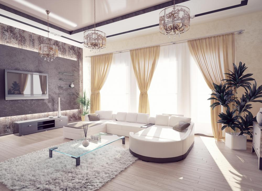 People who want a living room that is contemporary may decorate it with sleek furnishings in soft, monochromatic shades.