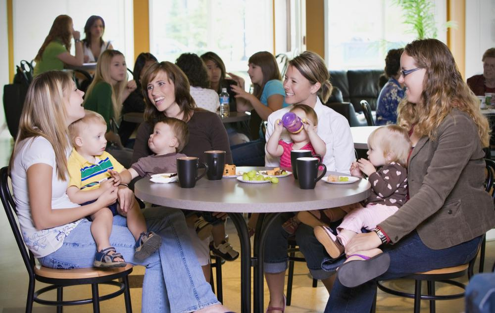 A moms' group offers parents the chance to network, chat, and share experiences.