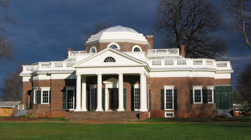Monticello, the home of Thomas Jefferson. The entablature is the area above the columns.