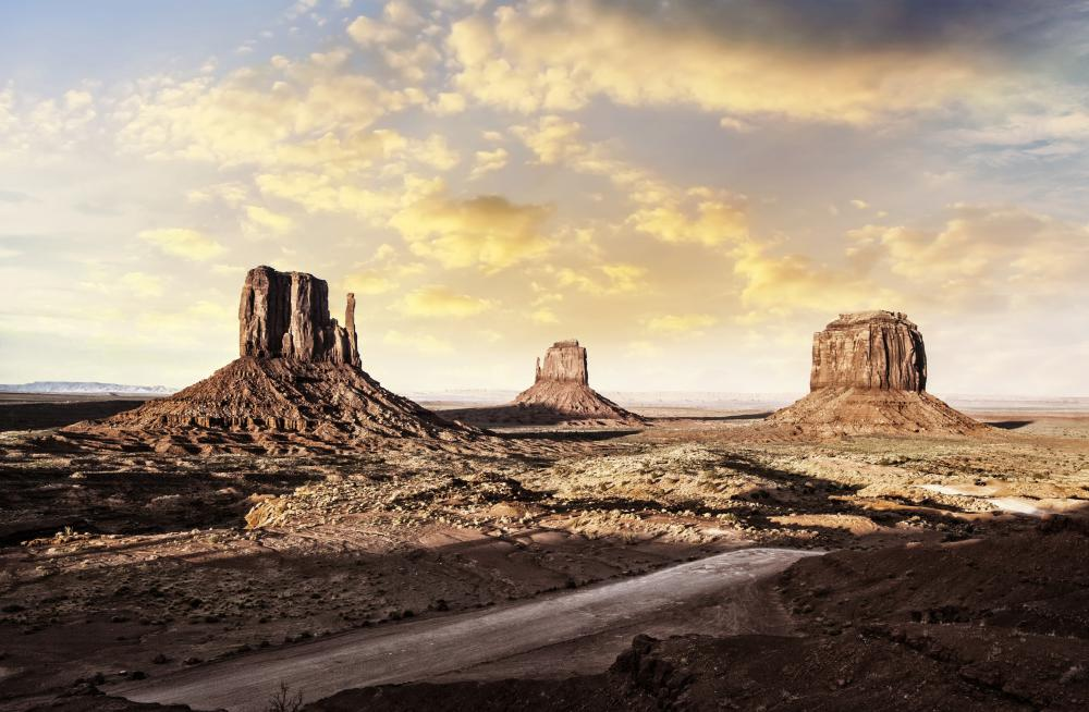 The striking landscape of Monument Valley Navajo Tribal Park has been used as a backdrop for many movies about the Wild West, including several by director John Ford.