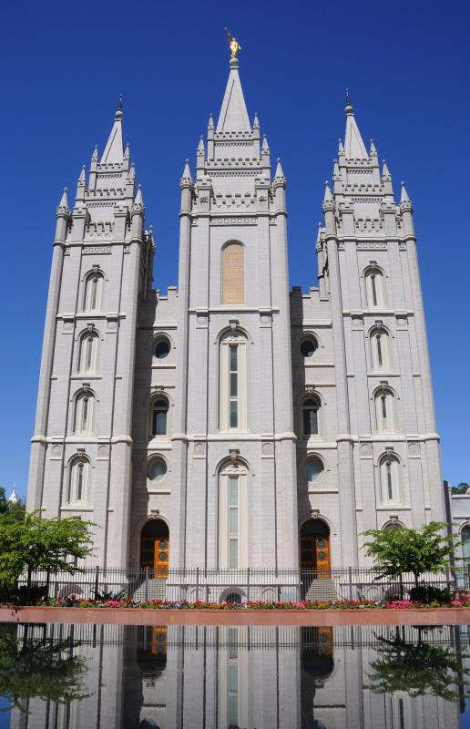 The Salt Lake Temple, a Latter Day Saints temple in Salt Lake City, Utah.