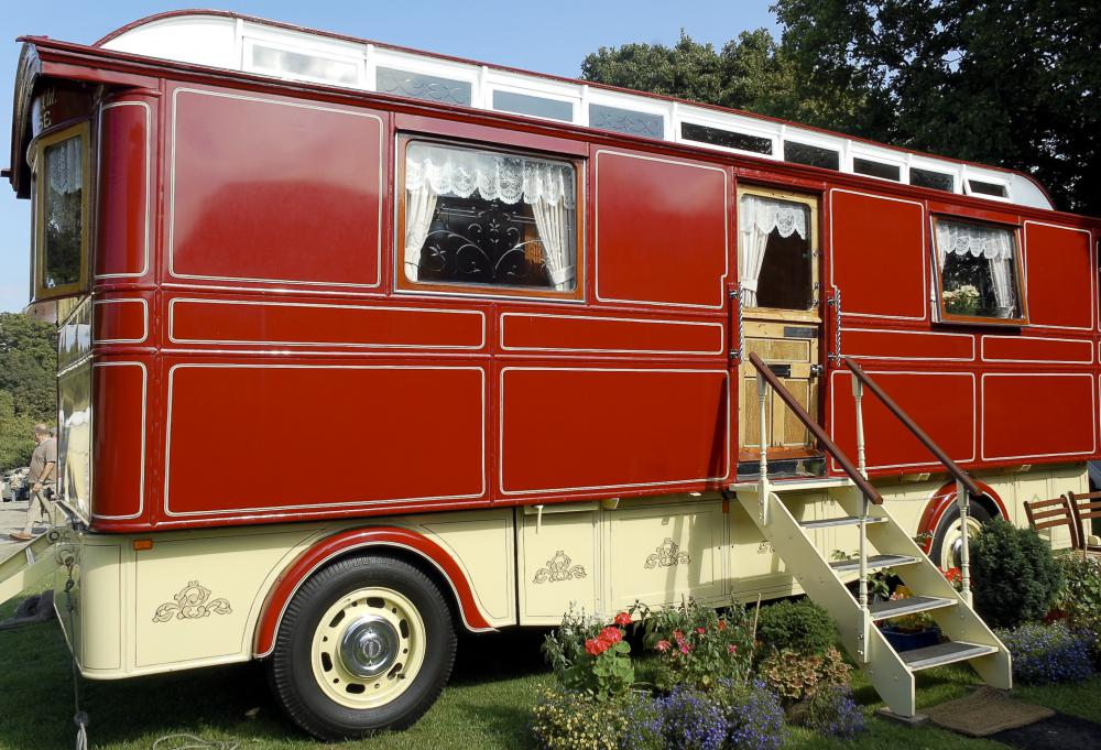 Travel with accommodations on board is usually done with a camper or recreational vehicle.