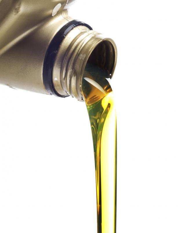 Motor oil is commonly available at a gas station.
