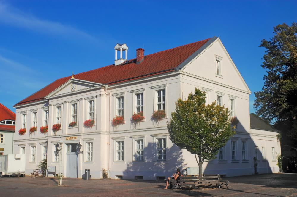 A town hall, which hosts social discourse in the form of meetings.