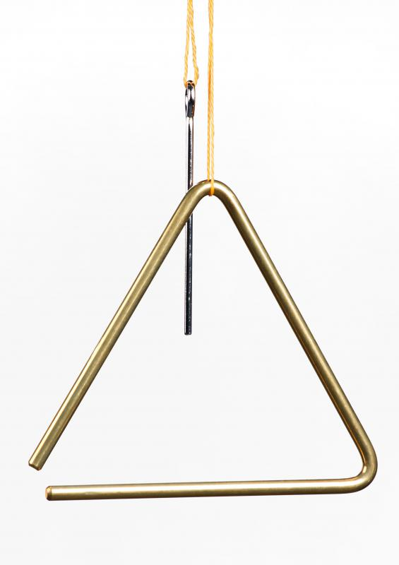 A triangle is a percussion instrument often used in ensembles.