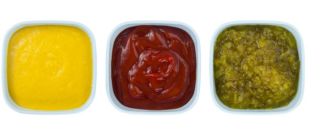 Mustard, ketchup, and pickle relish are familiar condiments on many American tables.