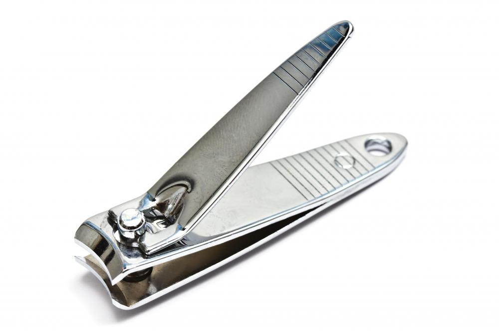 Nail clippers sterilized with hydrogen peroxide.