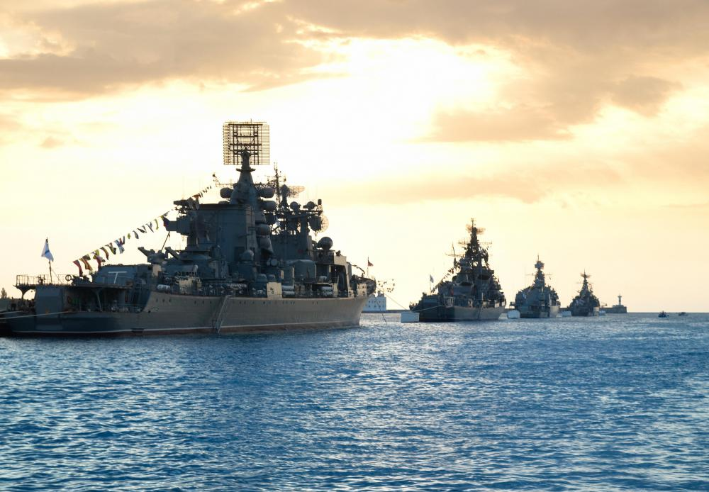 A warship's radio and radar systems are usually mounted on its mast.