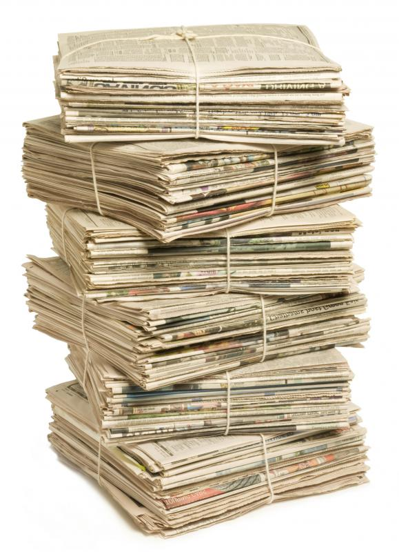Old newspapers can be recycled into handmade paper.