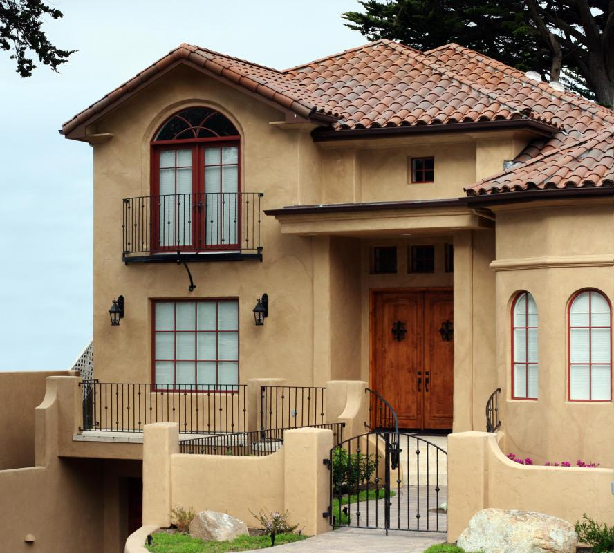 Stucco is typically found on Spanish and Mediterranean-style buildings.