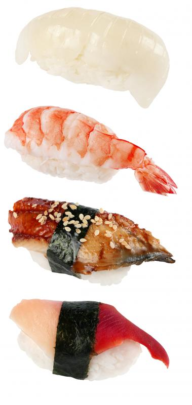 Sushi is often served at a raw bar.