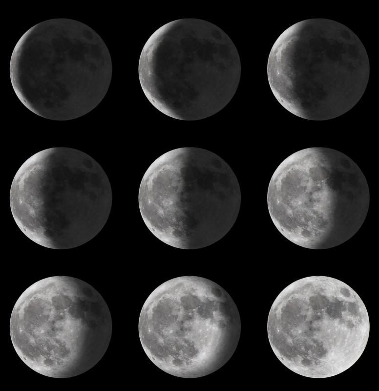 The phases of the Moon progress from a new Moon, which appears as a thin crescent, to a full Moon.
