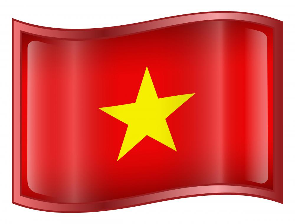 The flag of North Vietnam.