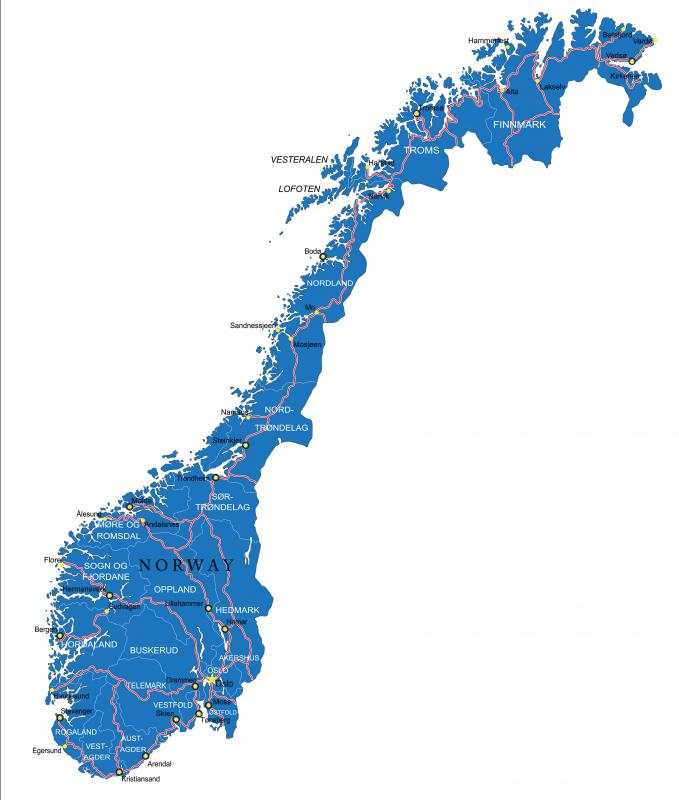 The Eurorail connects into parts of Norway.