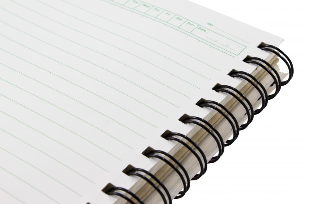 Spiral notebooks are common elementary school supplies.