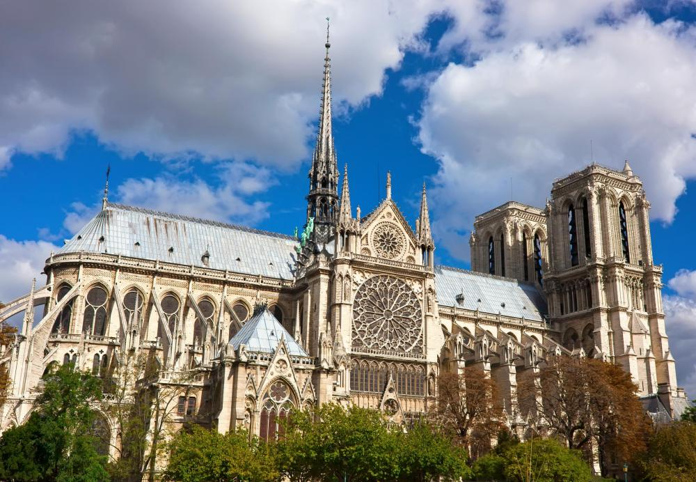 The Cathedral of Notre Dame in Paris, which uses flying buttresses in its design, is one of the most famous cathedrals in the world.