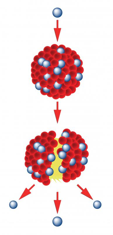 During nuclear fission a neutron splits a heavy nuclei to release energy.