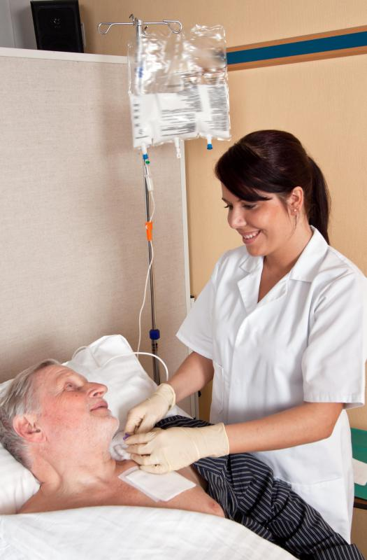 Some hospitalized patients need to have fluids administered through their veins because of dehydration.