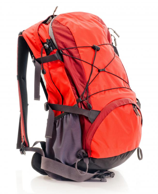 An internal frame hiking backpack.